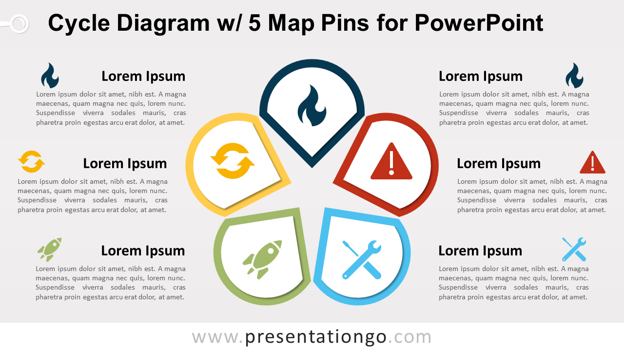 Free Cycle Diagram with 5 Pins for PowerPoint