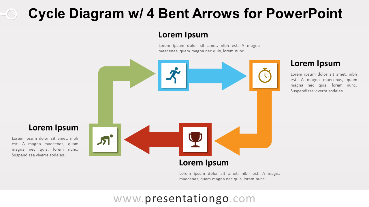 Free Cycle Diagram with Four Bent Arrows for PowerPoint