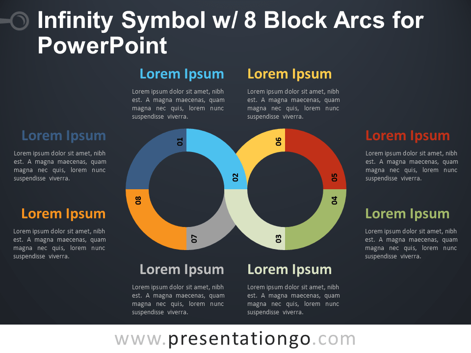 Free Infinity Symbol with 8 Block Arcs for PowerPoint - Dark Background