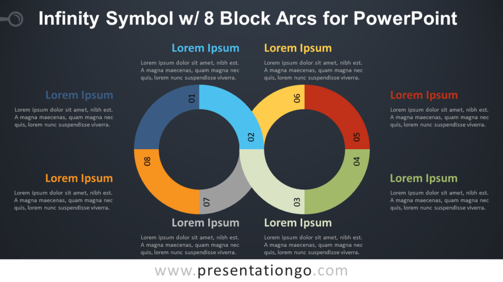 Free Infinity Symbol Diagram with Eight Block Arcs for PowerPoint - Dark Background