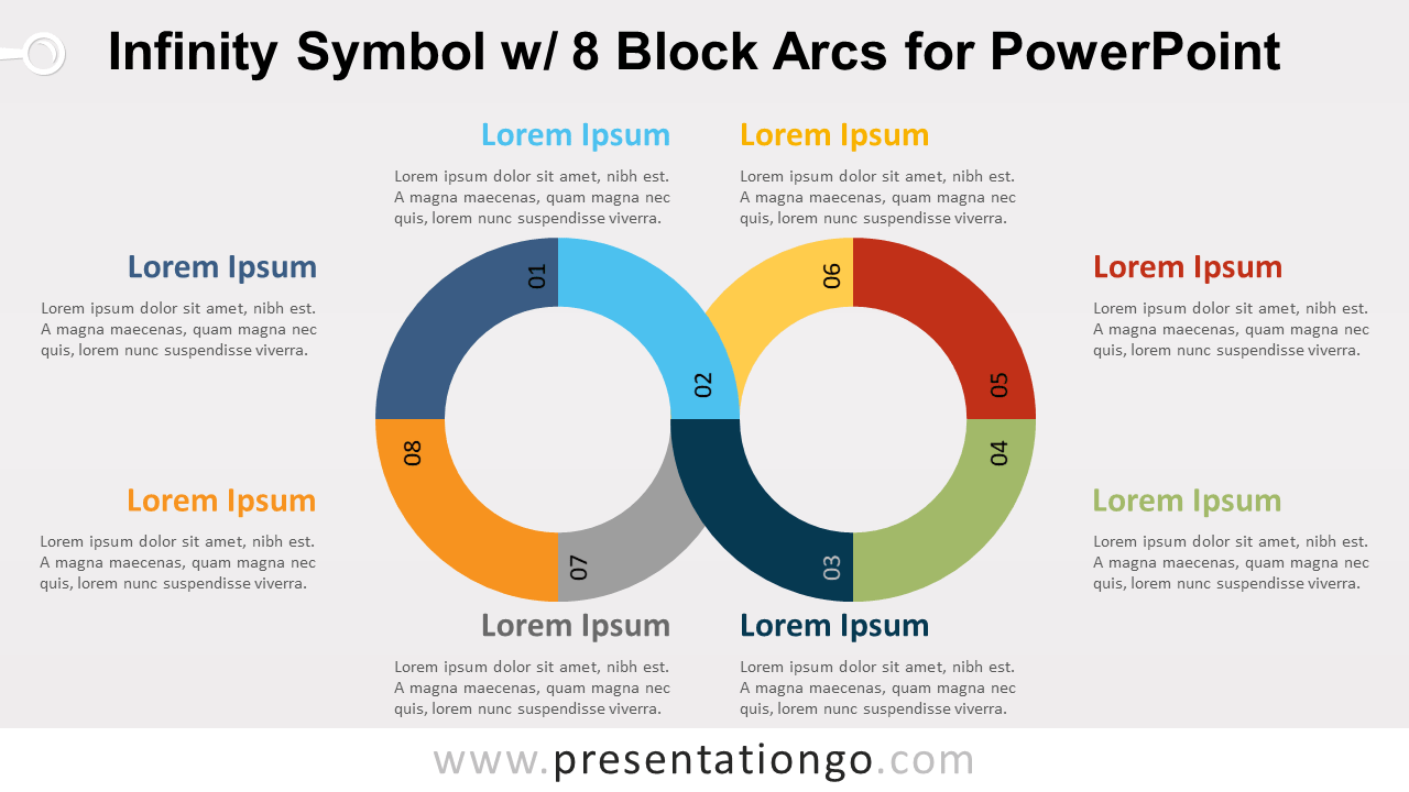 Infinity    Symbol with    8    Block Arcs for PowerPoint  PresentationGO