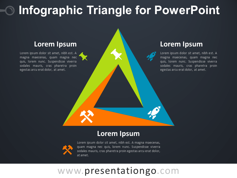 Free Infographic Triangle for PowerPoint - Dark Background
