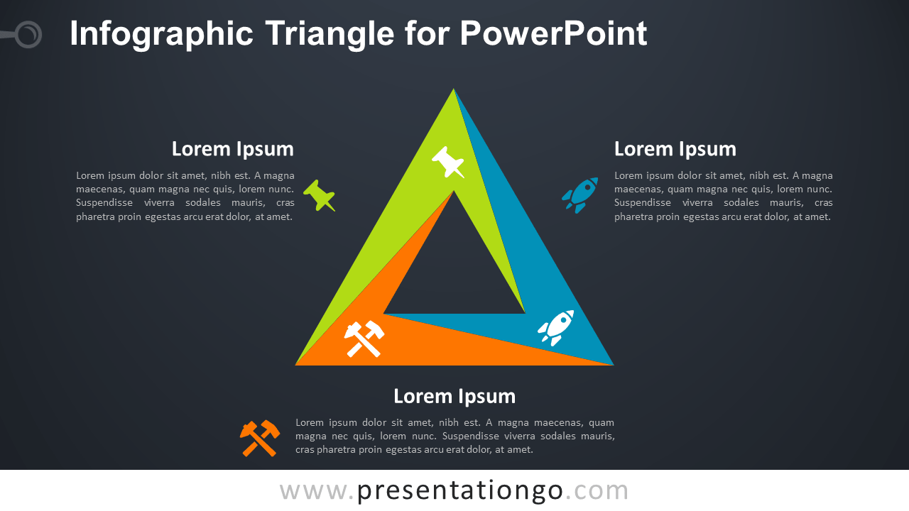 Free Infographic Triangle PowerPoint Diagram - Dark Background
