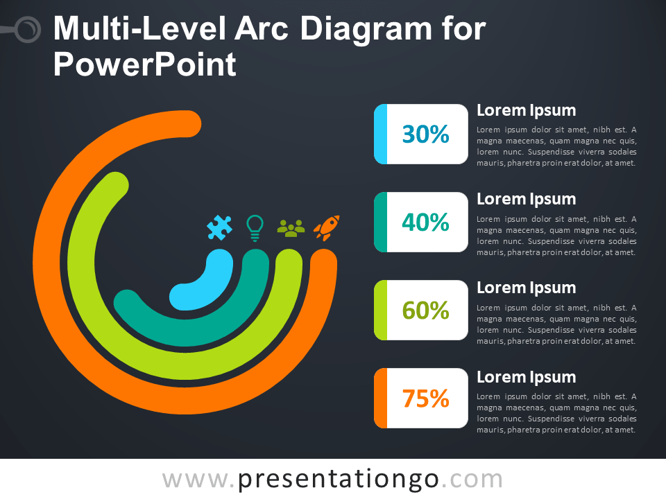 Free Multi-Level Arc Diagram for PowerPoint - Dark Background
