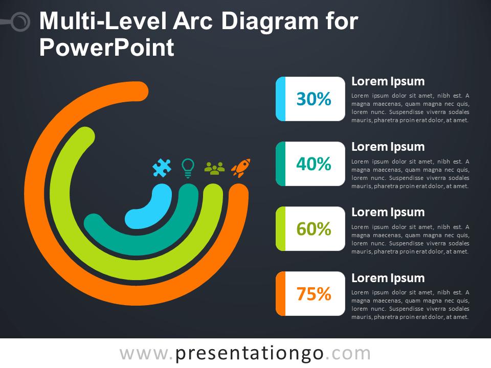 Free Multi-Level Arc Diagram for PowerPoint - Dark Background