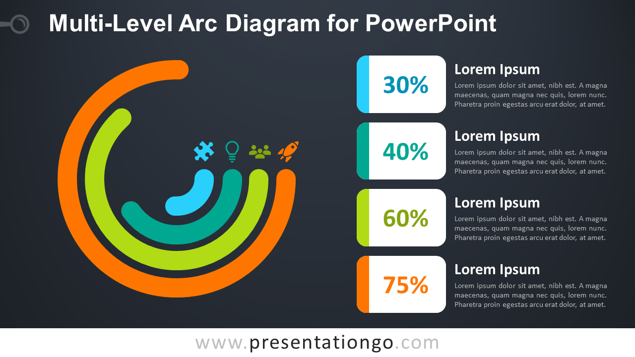 Free Multi-Level Arc for PowerPoint - Dark Background