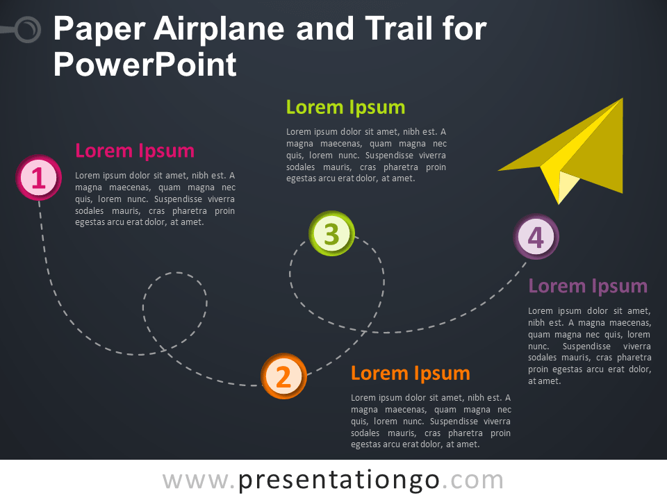 Free Paper Airplane and Trail for PowerPoint - Dark Background