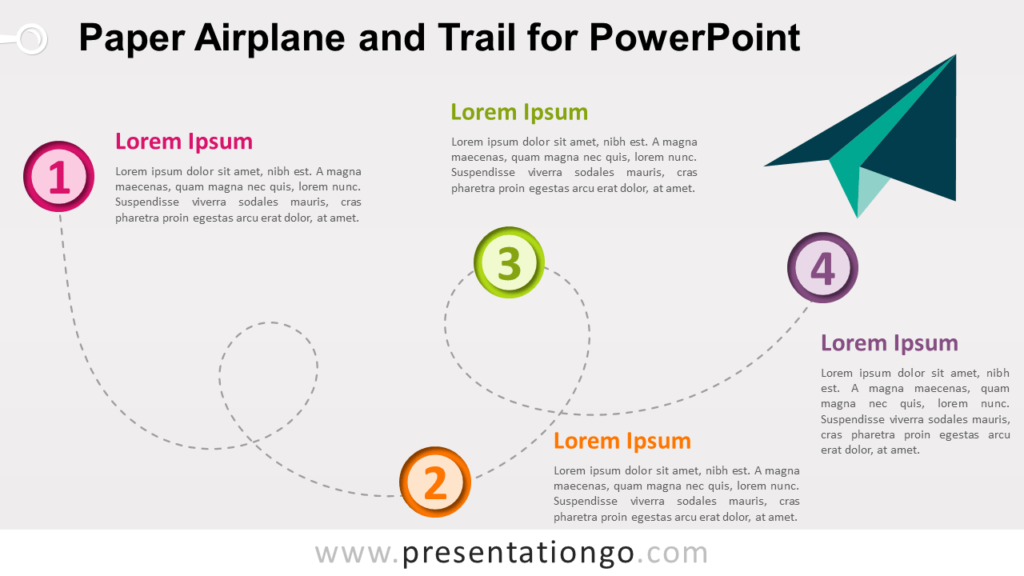 Free Paper Airplane and Trail - Timeline for PowerPoint