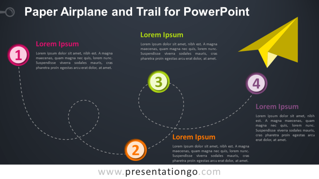 Free Paper Airplane and Trail - Timeline for PowerPoint (Dark Background)
