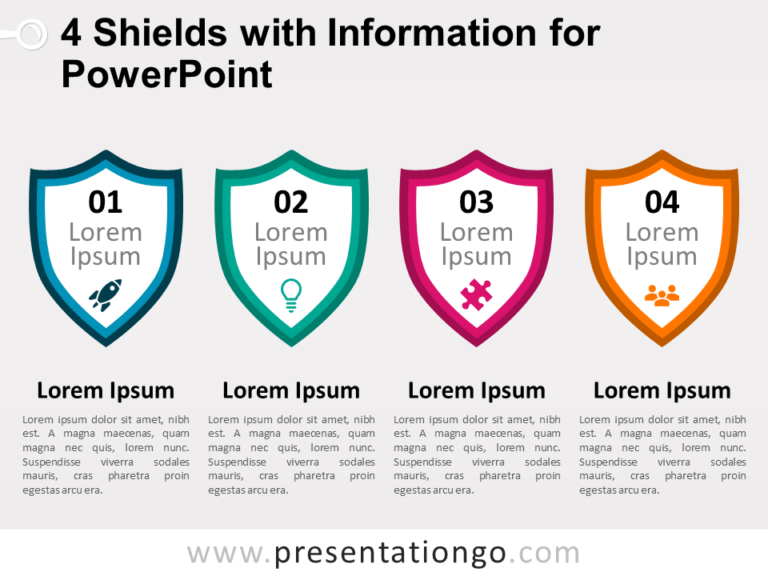Free 4 Shields with Information for PowerPoint