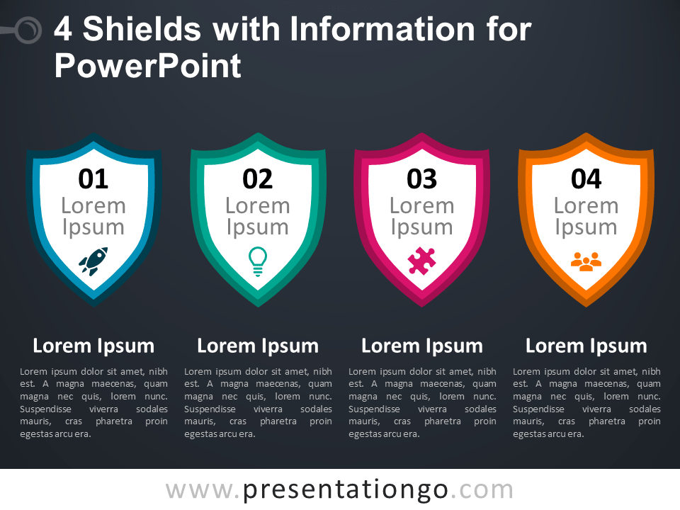 Free 4 Shields with Information for PowerPoint - Dark Background