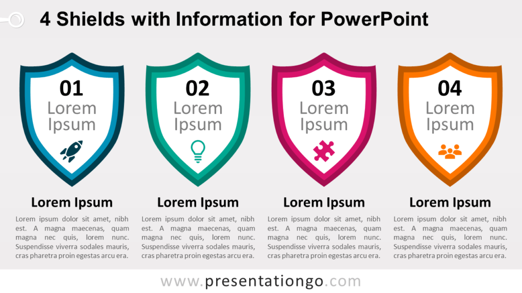 Free 4 Shields with Information for PowerPoint Template