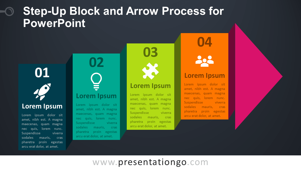 Free Step-Up Block Arrow Process Diagram for PowerPoint - Dark Background