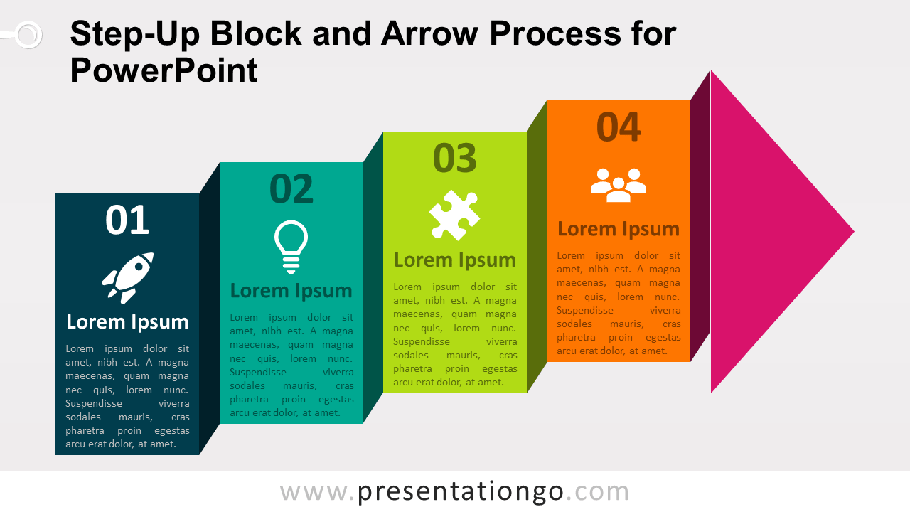Step-Up Block and Arrow Process for PowerPoint - PresentationGO.comPresentationGO