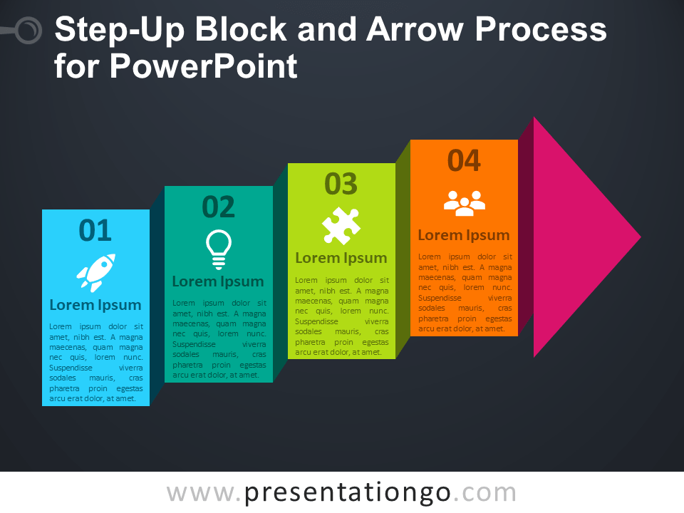 Free Step-Up Block Arrow Process for PowerPoint - Dark Background