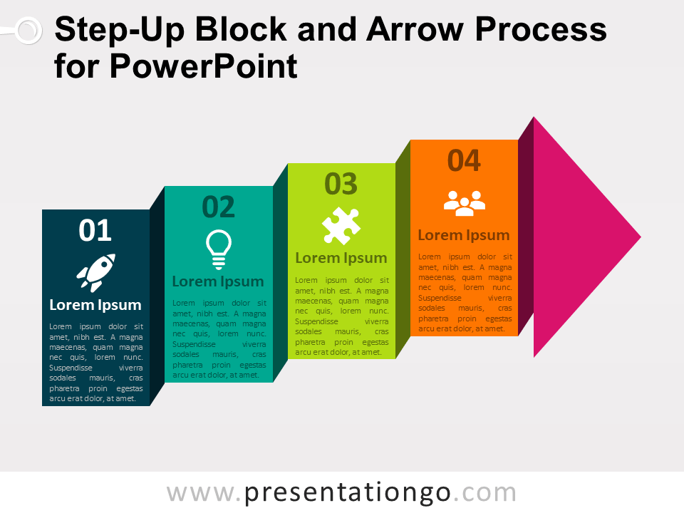 Free Step-Up Block Arrow Process for PowerPoint