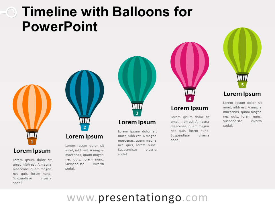 Free Timeline with Balloons for PowerPoint