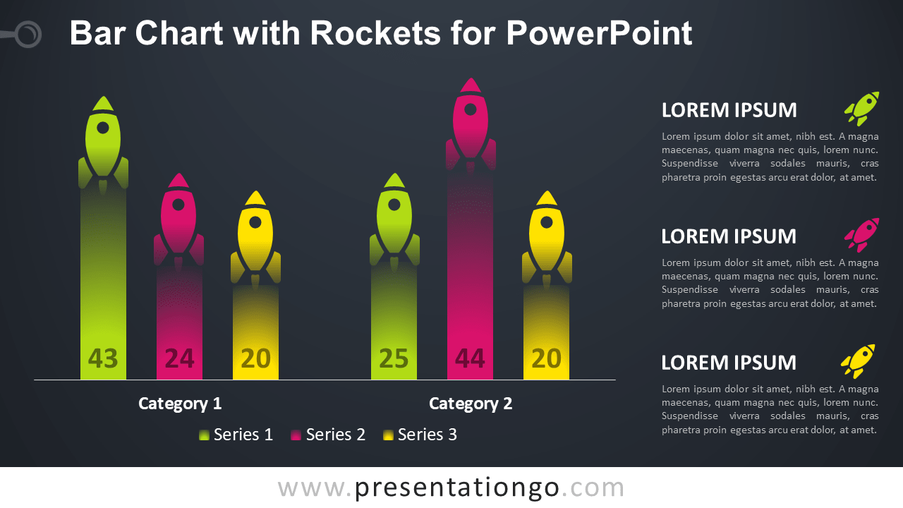 Bar Chart with Rockets for PowerPoint Template - Dark Background