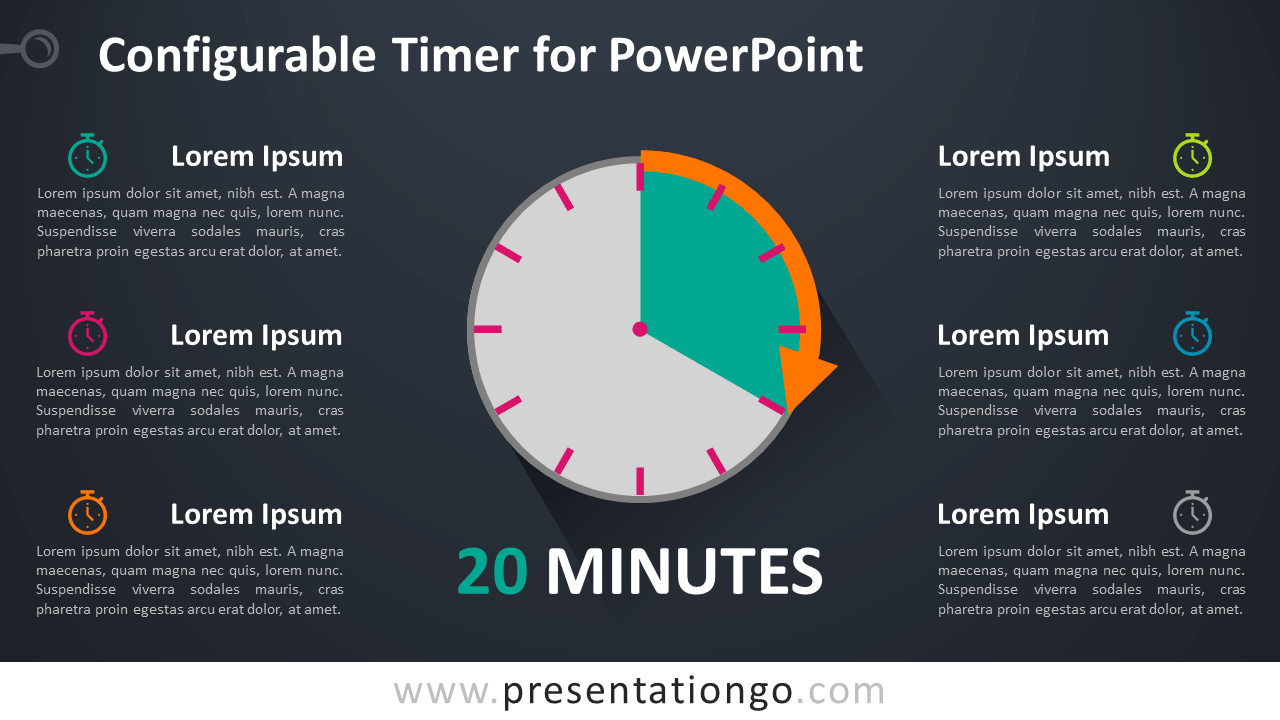 Free Configurable Timer Graphics for PowerPoint - Dark Background