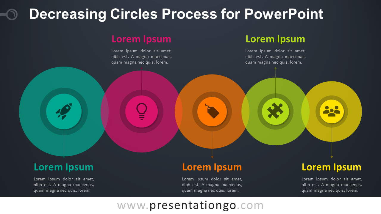 Decreasing Circles Process Diagram - Free PowerPoint Template