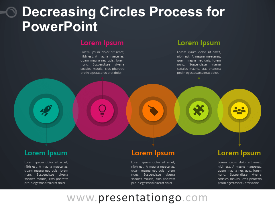 Free Decreasing Circles Process PowerPoint Template