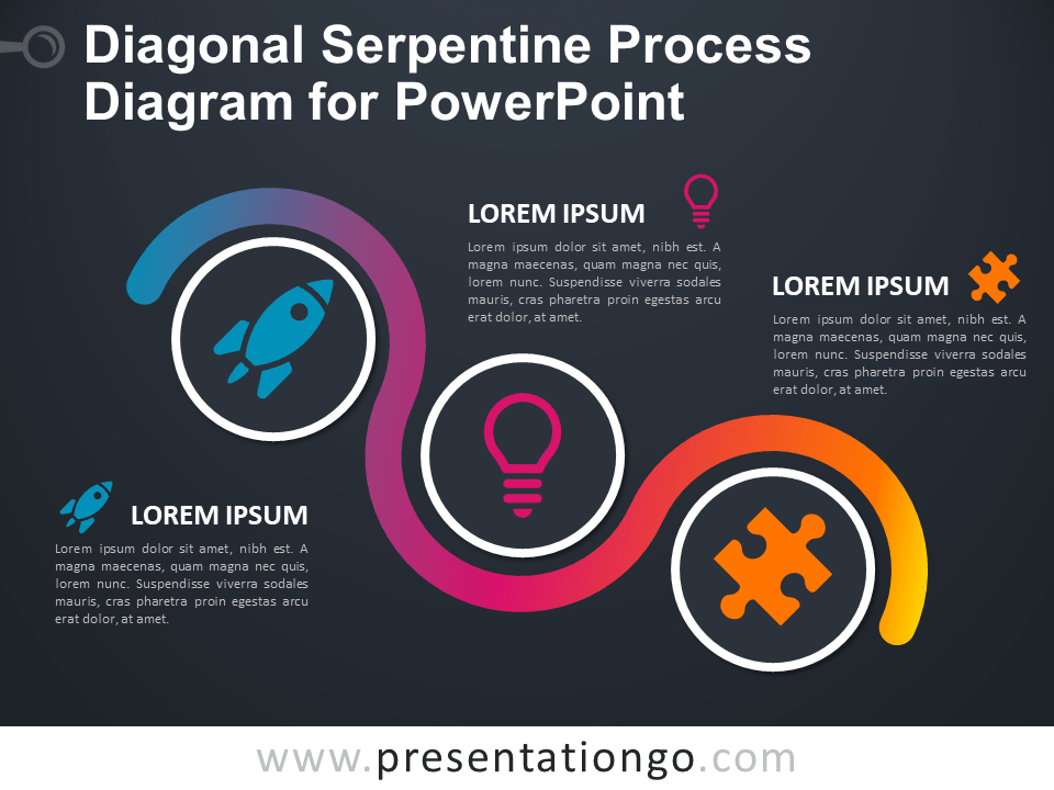 Free Diagonal Serpentine Process Diagram for PowerPoint - Dark Background