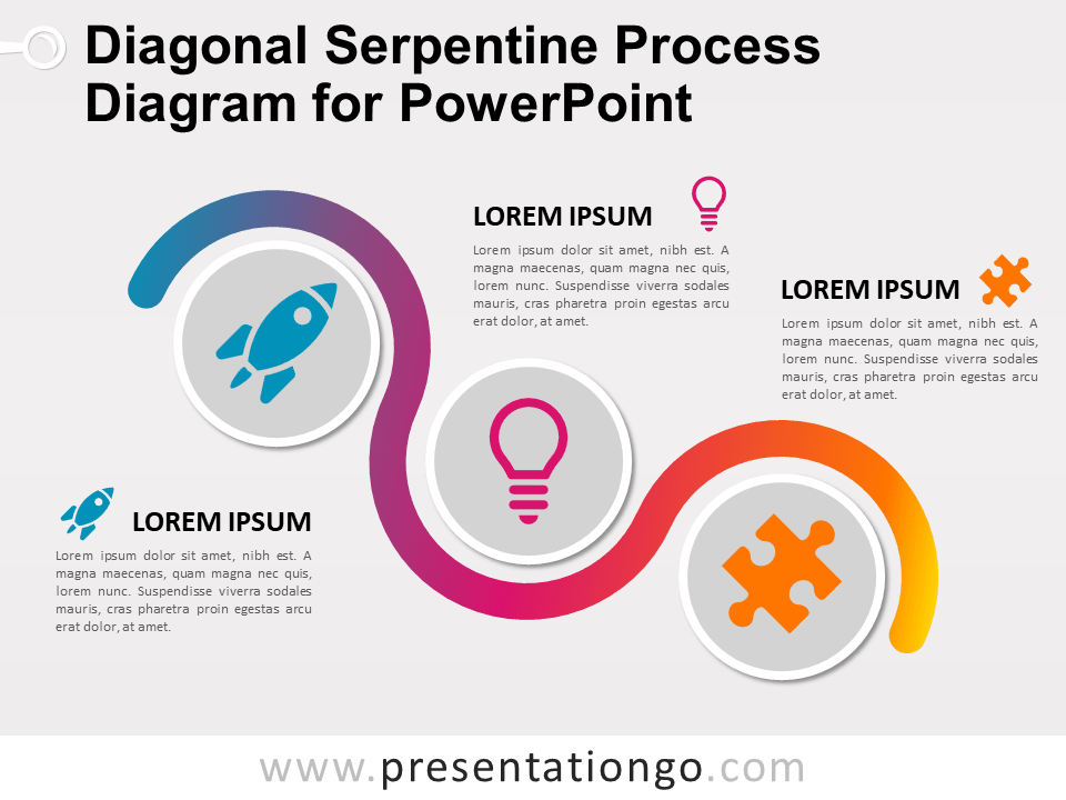 Free Diagonal Serpentine Process Diagram for PowerPoint
