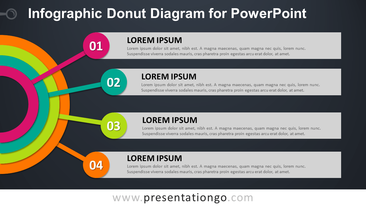 Free Donut Diagram for PowerPoint - Dark Background
