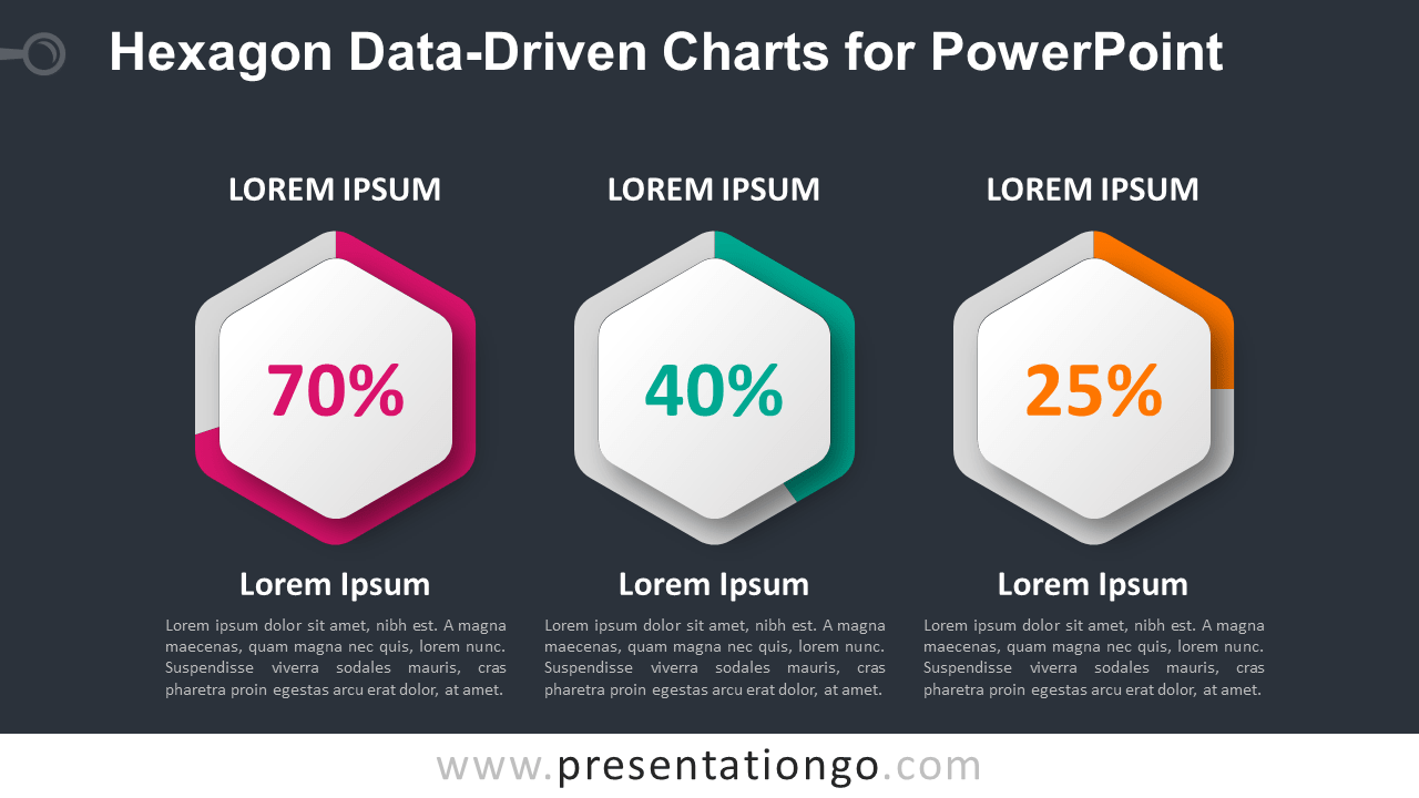 Free Hexagon Charts for PowerPoint - Dark Background