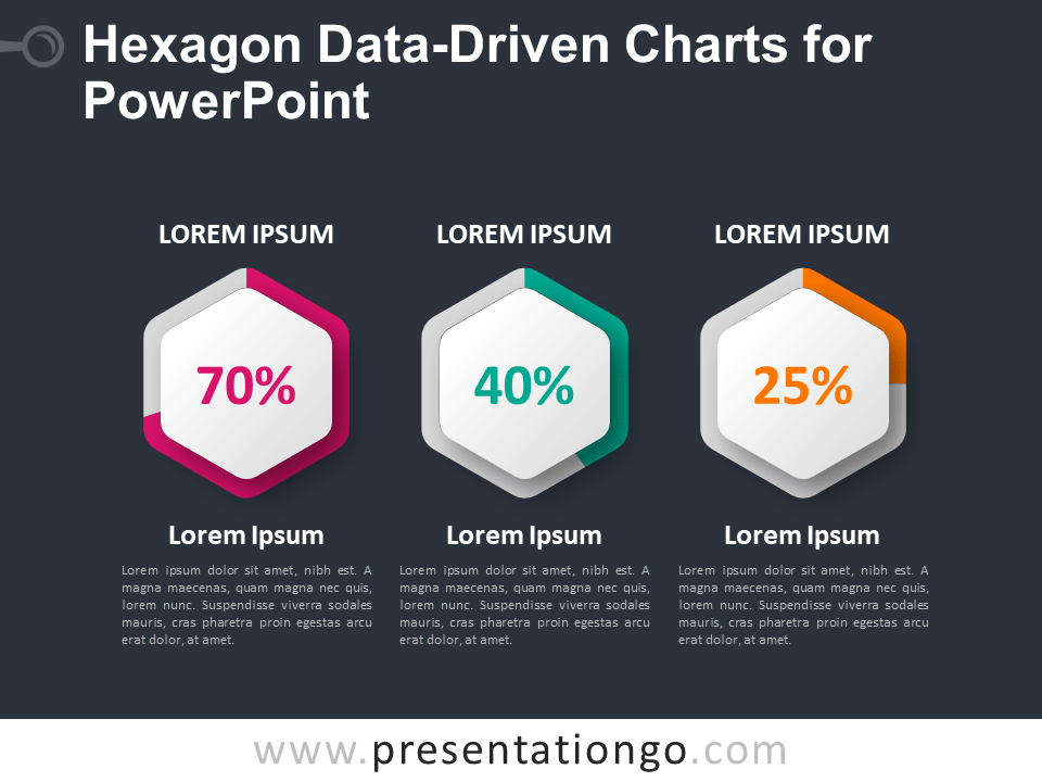 Free Hexagon Data-Driven Charts for PowerPoint - Dark Background