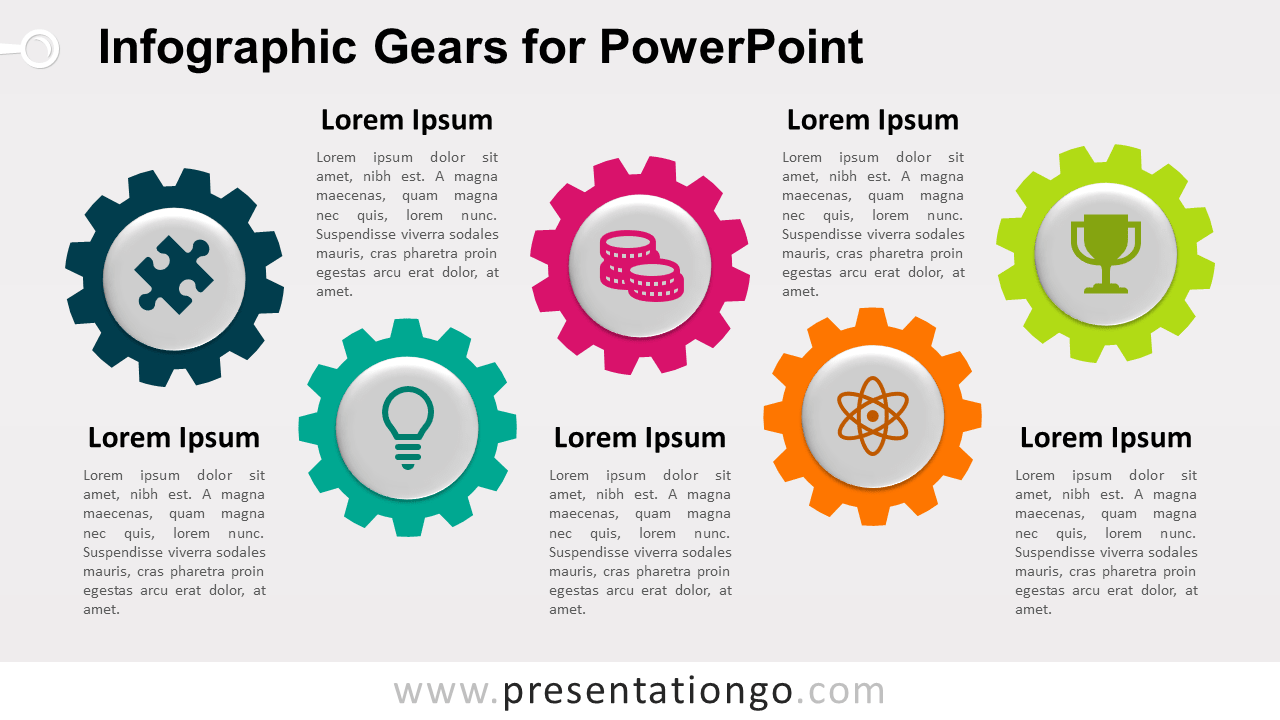 Free Horizontal Infographic Gears for PowerPoint