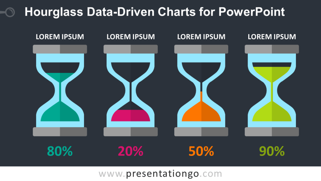 Free Hourglass Charts for PowerPoint - Dark Background