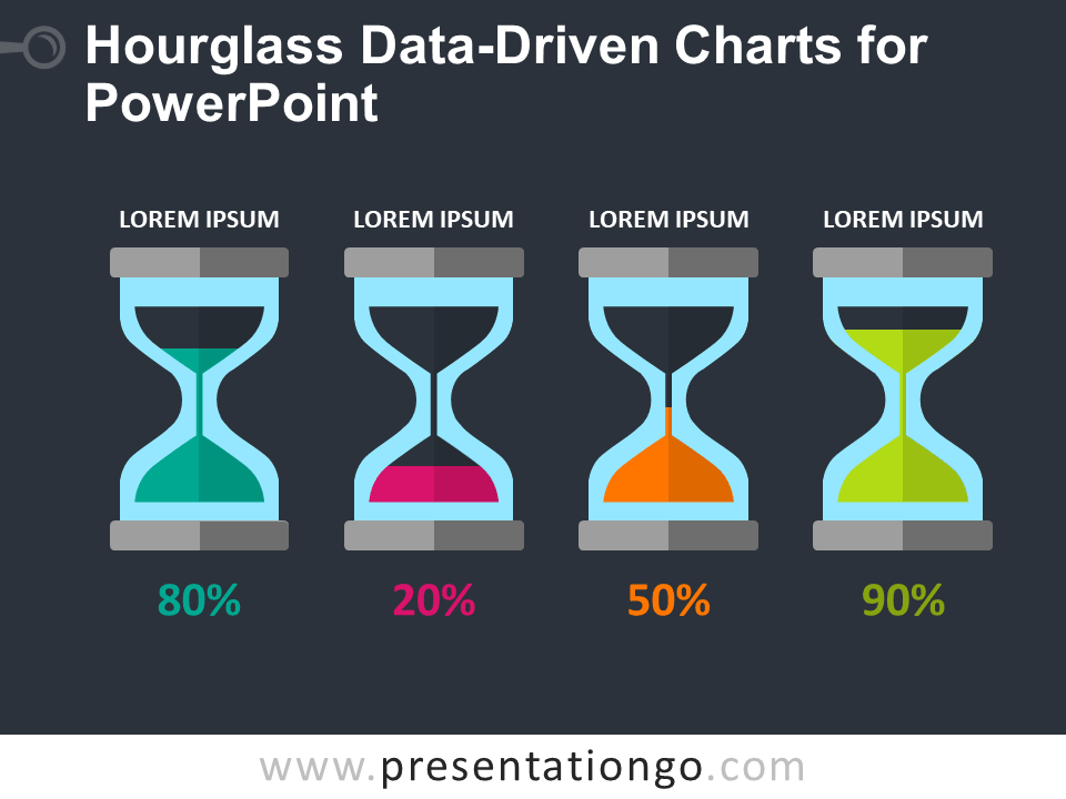Free Hourglass Data-Driven Charts for PowerPoint - Dark Background