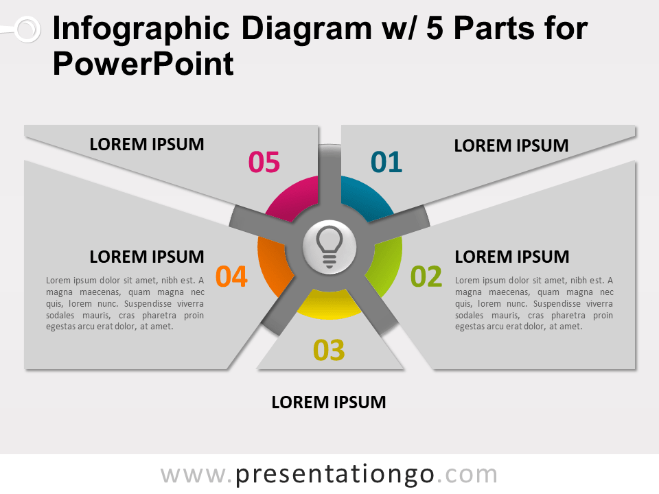 Free Infographic Diagram with 5 Parts for PowerPoint - Slide 2