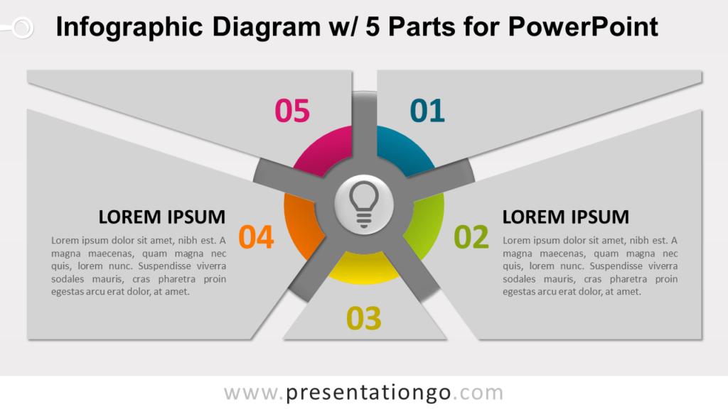 Free Infographic Diagram with 5 Parts PowerPoint Template - Slide 2