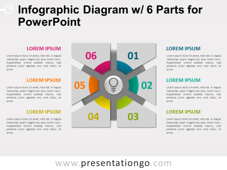 Free Infographic Diagram with 6 Parts for PowerPoint - Slide 1