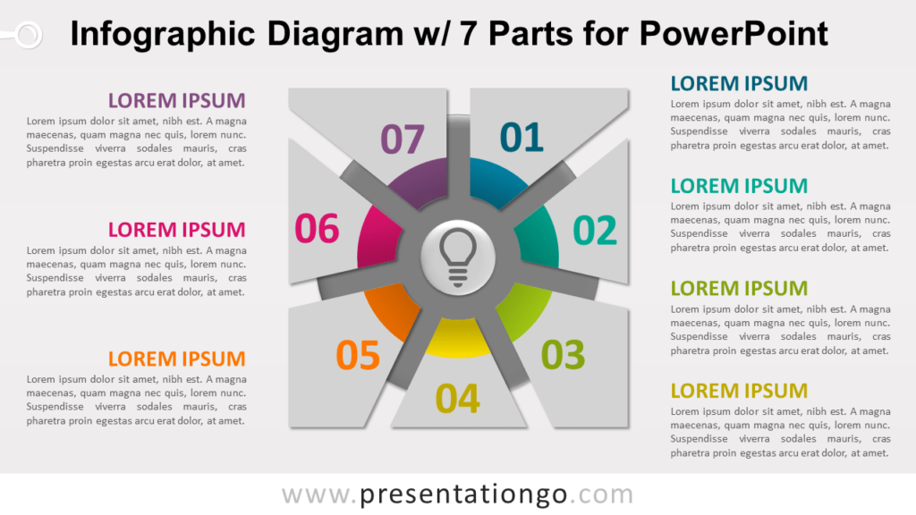Free Infographic Diagram with 7 Parts PowerPoint Template - Slide 1