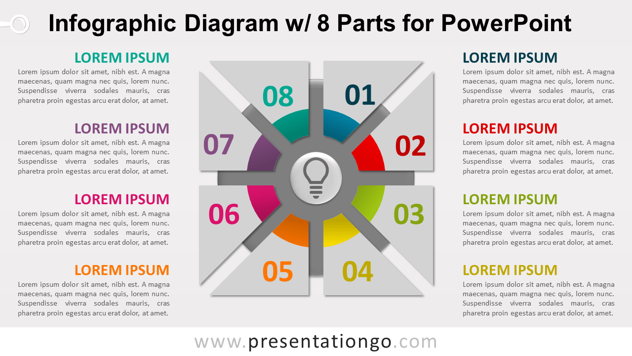 Free Infographic Diagram with 8 Parts PowerPoint Template - Slide 1