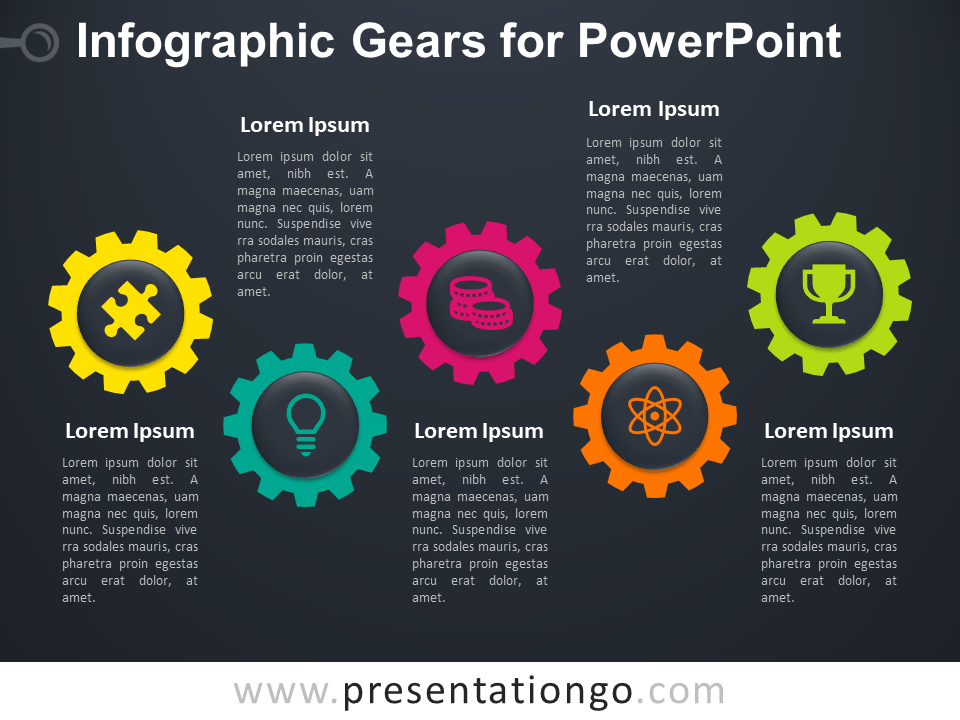 Free Infographic Gears for PowerPoint - Dark Background
