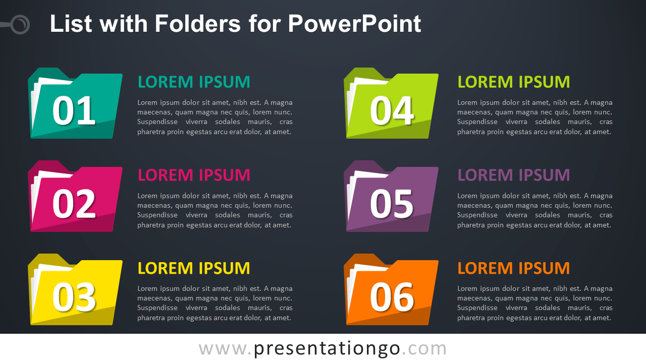 Free List with Folders for PowerPoint Template