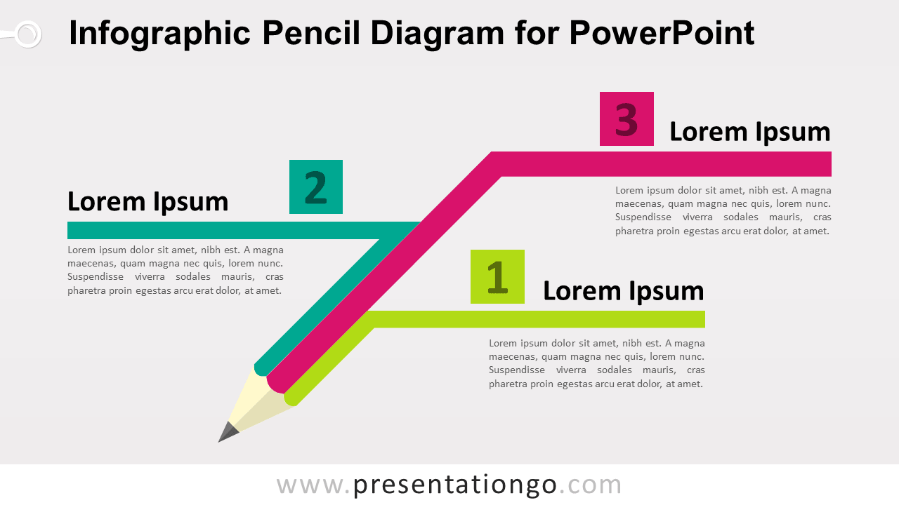 Free Pencil Diagram for PowerPoint - Colored Version