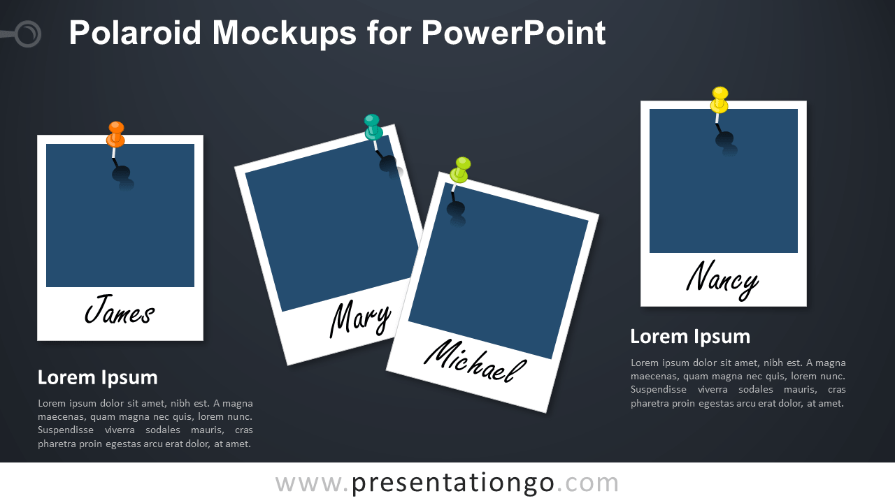 Free Polaroid Frames for PowerPoint - Dark Background