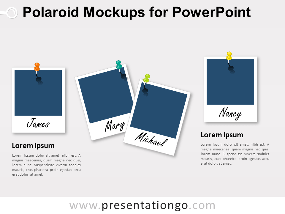Polaroid Mockups for PowerPoint (Blank frames)