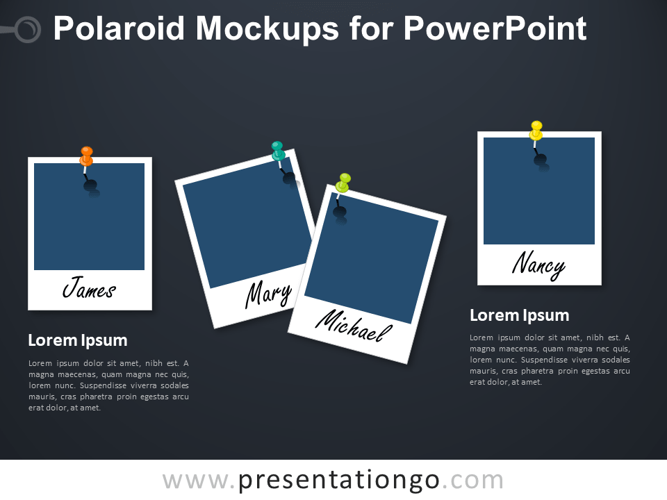Free Polaroid Mockups for PowerPoint - Dark Background