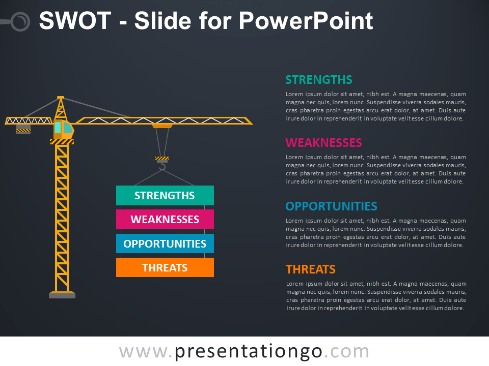 Free SWOT Slide for PowerPoint - Dark Background