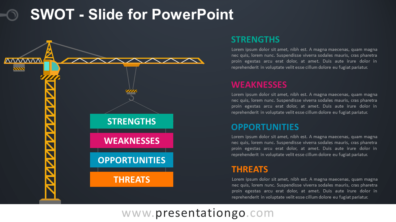 Free SWOT Slide Template for PowerPoint - Dark Background
