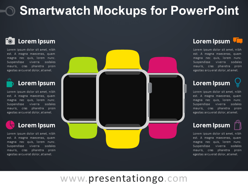 Free Smart Watch Mockups for PowerPoint - Dark Background
