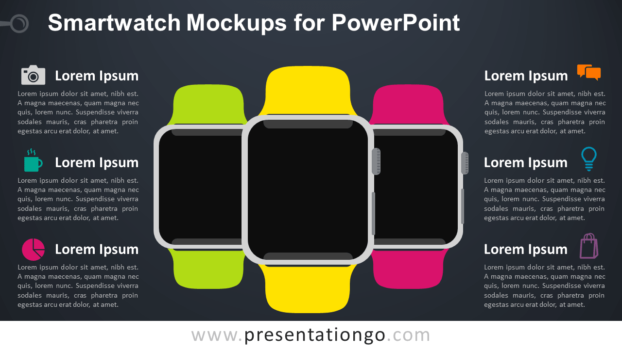 Free Smartwatch Mockups PowerPoint Template - Dark Background