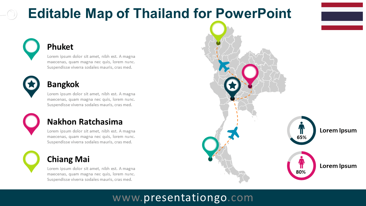 Free Thailand Map for PowerPoint
