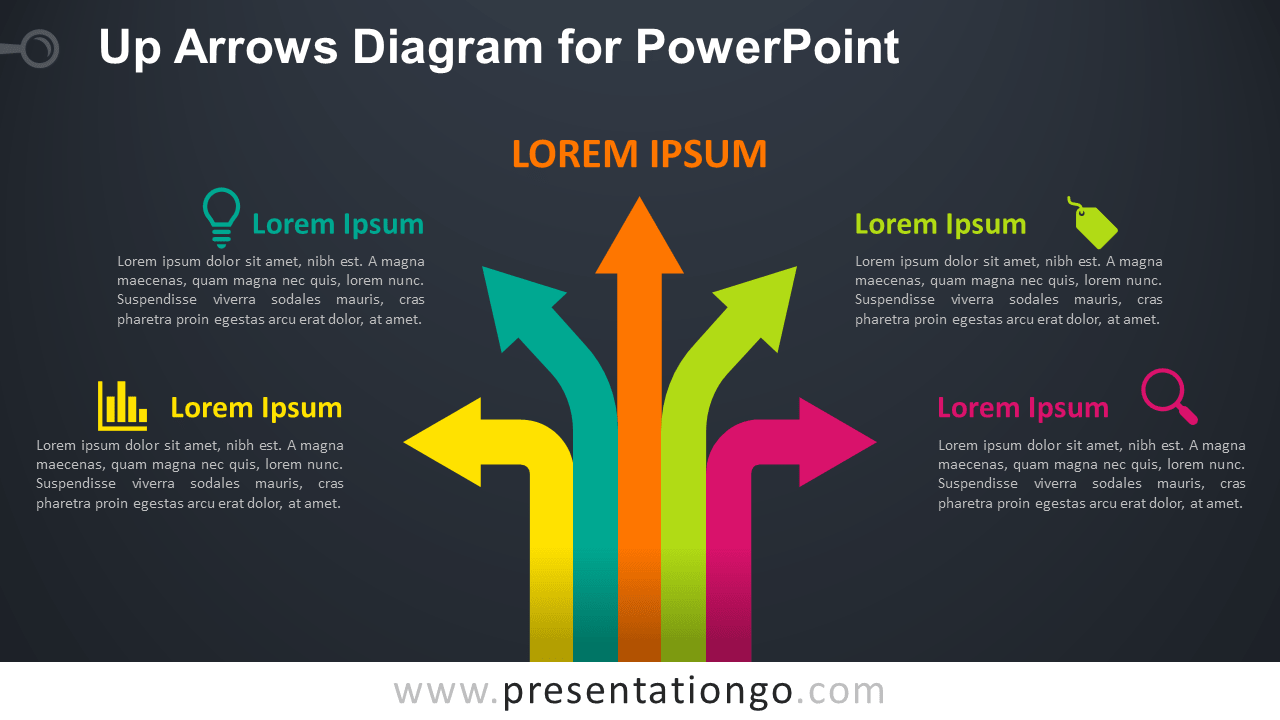 Free Up Arrows PowerPoint Template - Dark Background